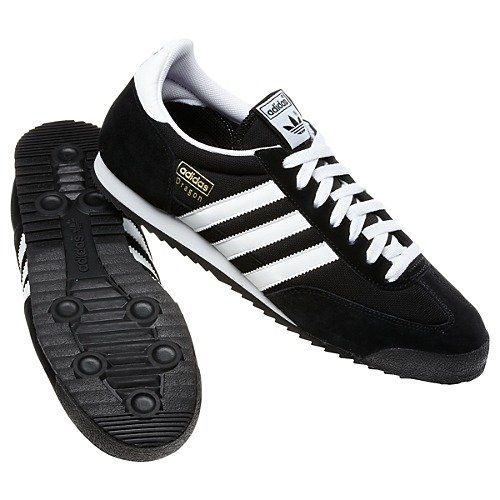 adidas Originals Men's Dragon Retro Sneaker,Black/White/Metallic Gold,9.5 M