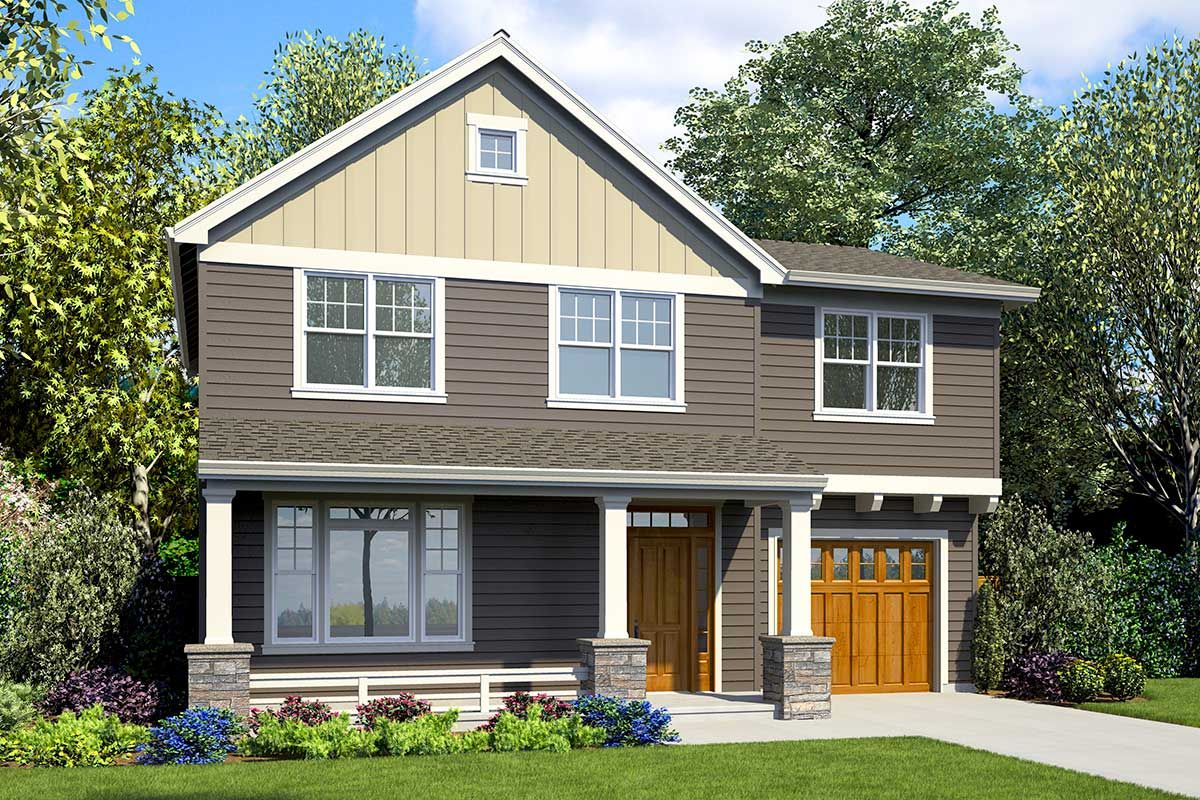 Compact Craftsman Home Plan with Apartment Over Garage