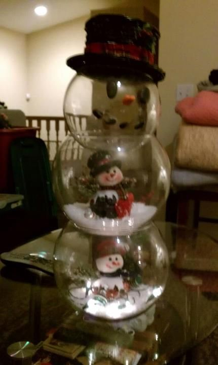 Christmas Snowman I Made Out Of Fish Bowls This Was A Little Harder To Make And More Expensive