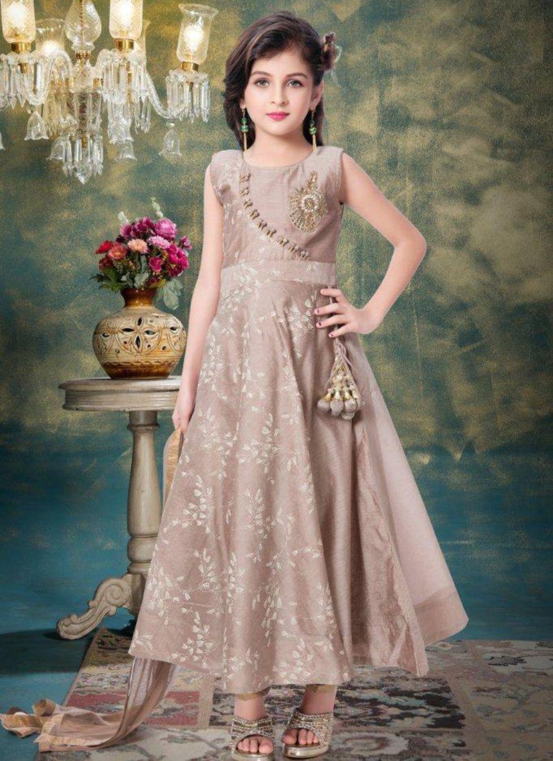 52f65f914acf Wedding Wear Brown Silk Embroidery Work Kids Salwar Suit | aftab ...