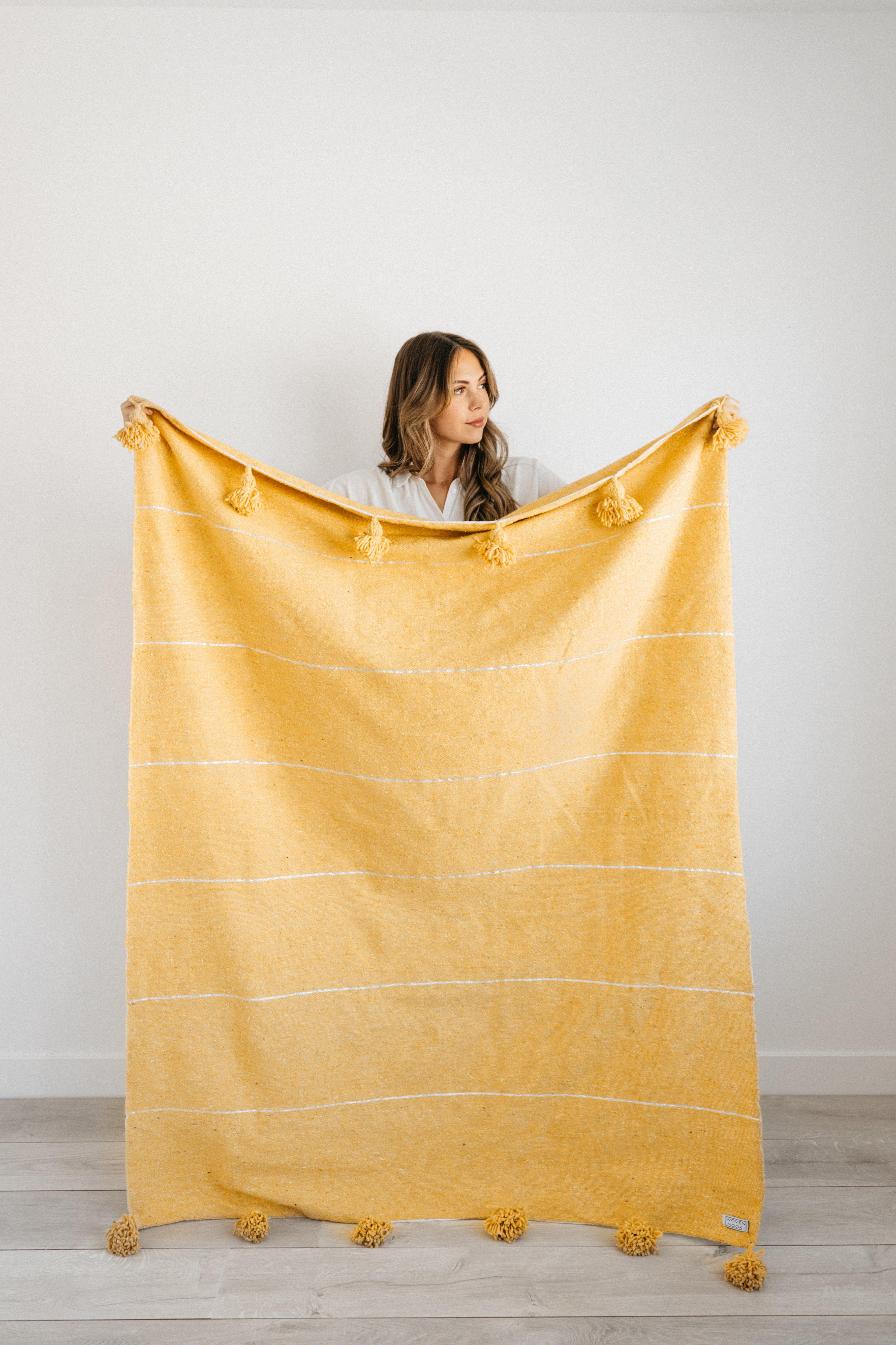 Capri Pom Pom Blanket Hand Woven Blanket Pom Pom Blanket Hand Weaving