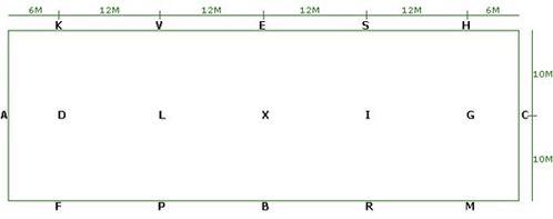 20m x 60m Portable Dressagre Arena and Letters plan