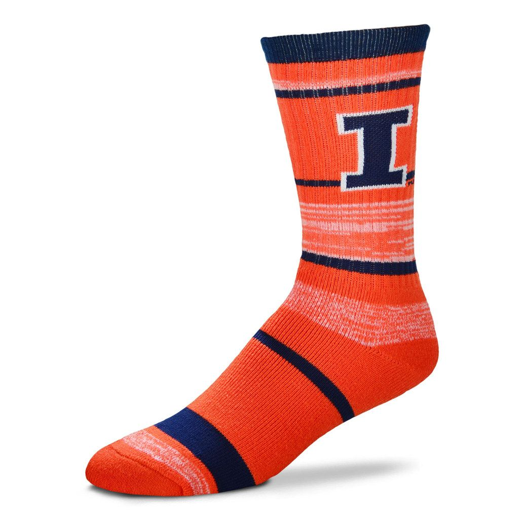 Adult For Bare Feet Illinois Fighting Illini RMC Stripe Crew Socks, Men's, Size: Large, Team