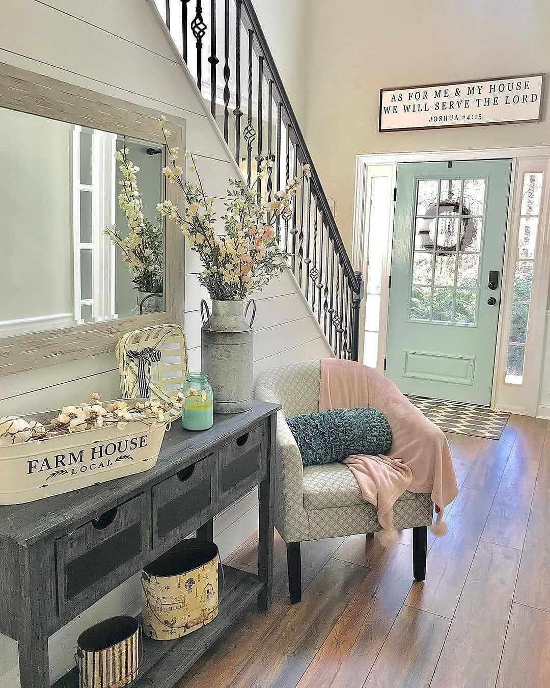 """Farmhouse Homes 🏡 on Instagram: """"What do you think of this gorgeous entryway? 😍 It has ALL of the farmhouse vibes! 👀 TAG a friend who will love this too! 👇…"""""""