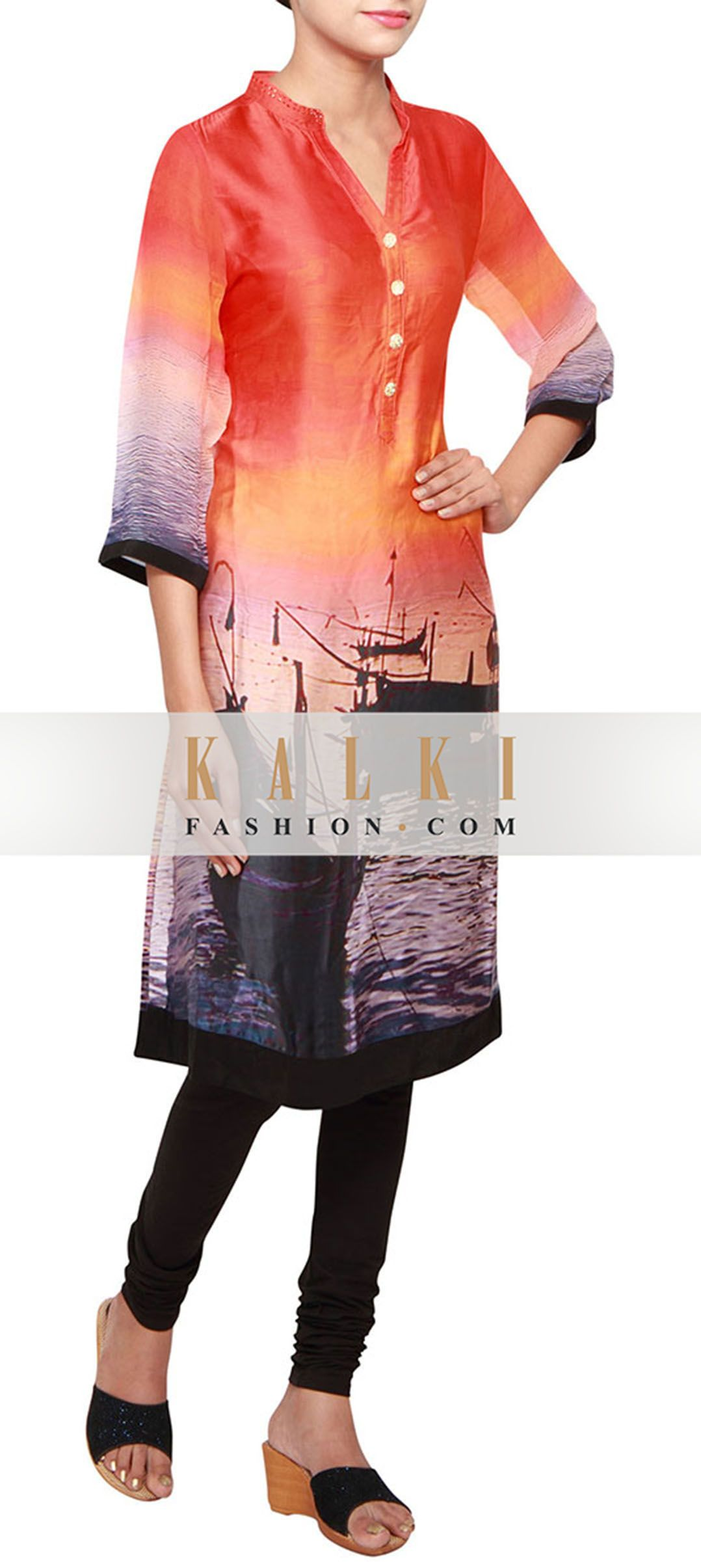 Buy Online from the link below. We ship worldwide (Free Shipping over US$100) http://www.kalkifashion.com/multi-coloured-a-line-kurti-in-satin-embellished-in-print-only-on-kalki.html