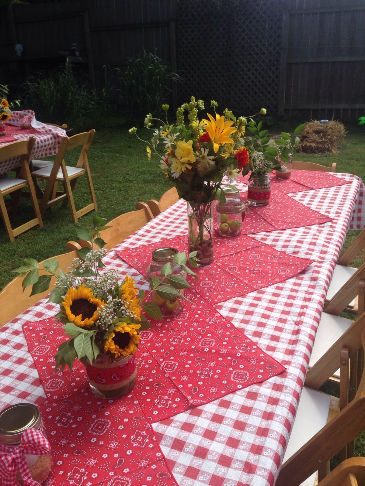 Our picnic themed outdoor rehearsal special events for Patio table centerpiece ideas