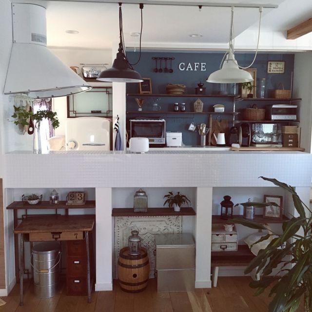Shinoさんの、キッチン,無印良品,カフェ風,ペンダントライト,米びつ