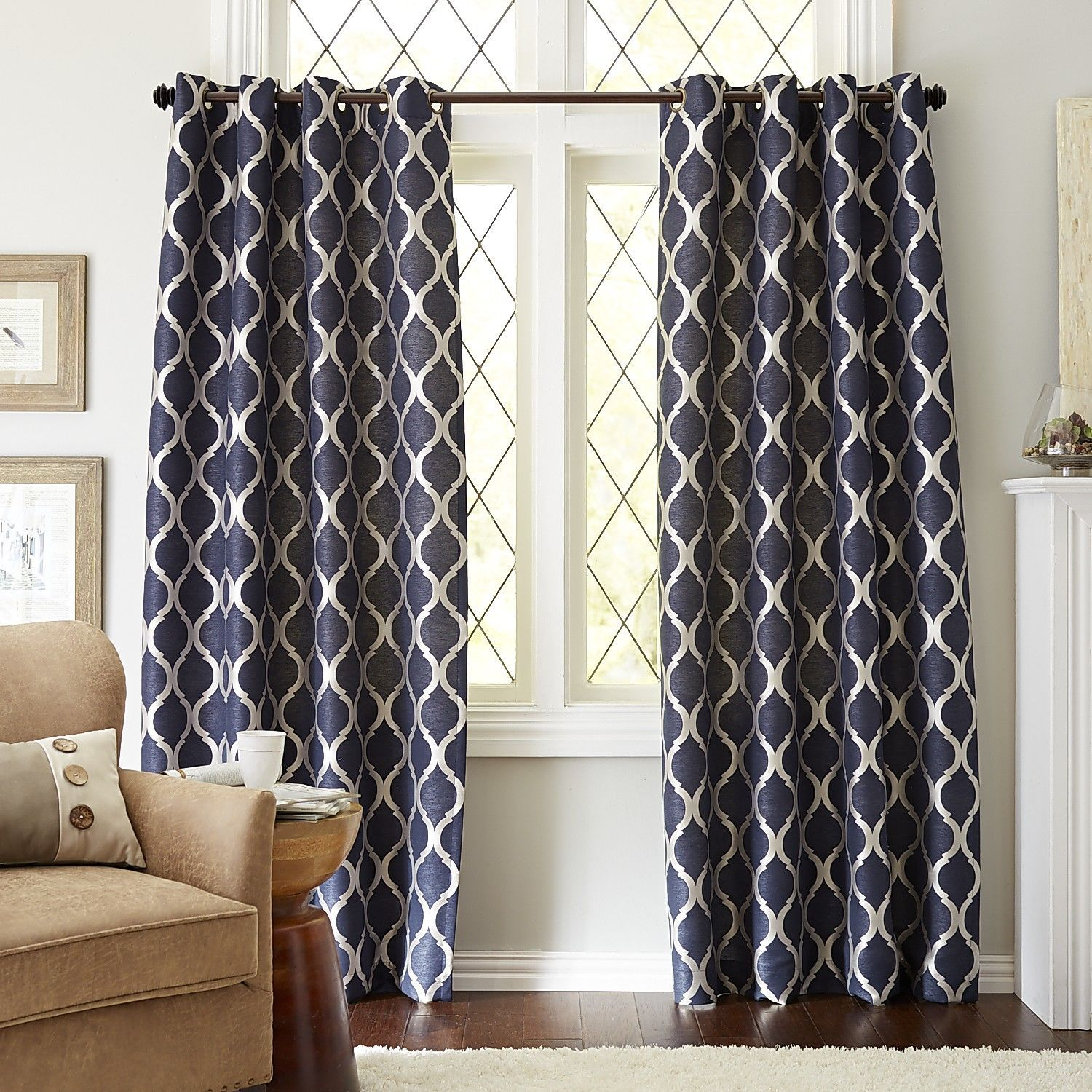 Moorish Tile Indigo Grommet Curtain