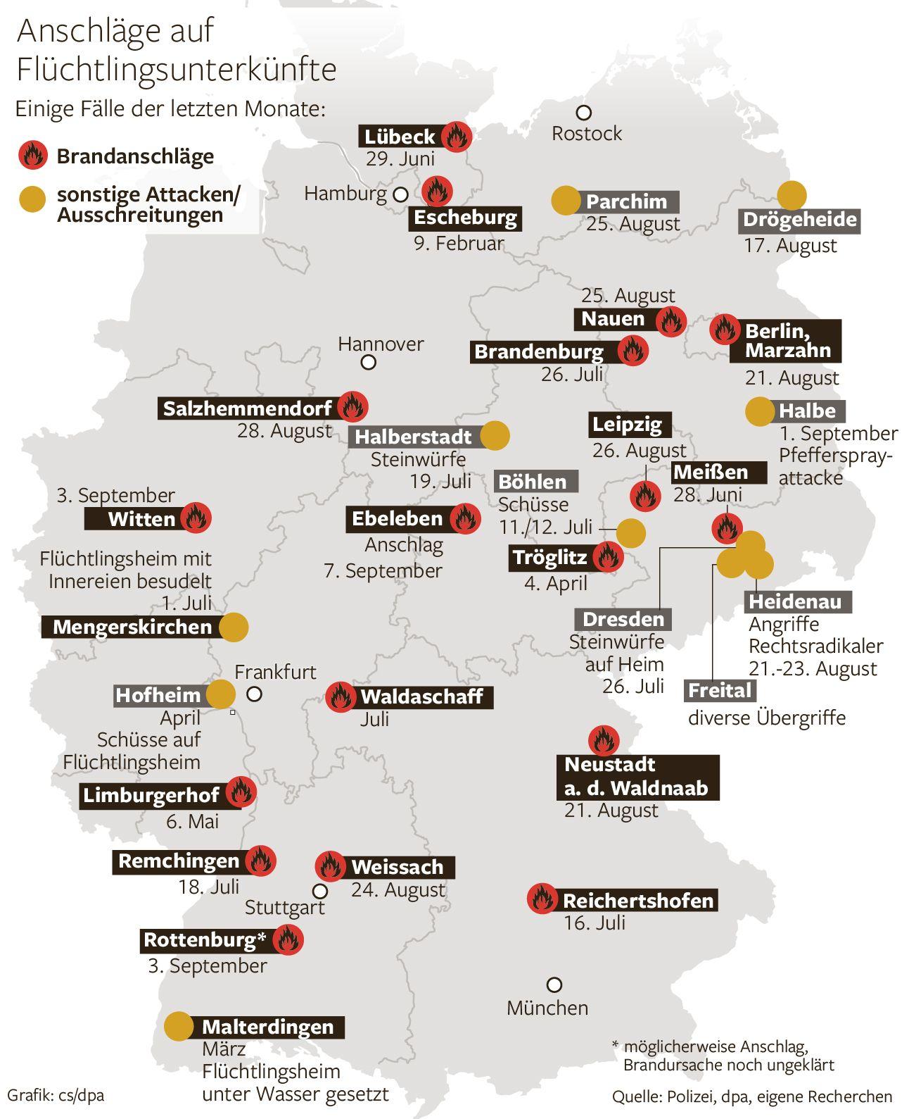 Die schlimmsten Anschläge auf Flüchtlingsunterkünfte in Deutschland. Grafi: C. Schlippes Erschienen in der Berliner Morgenpost
