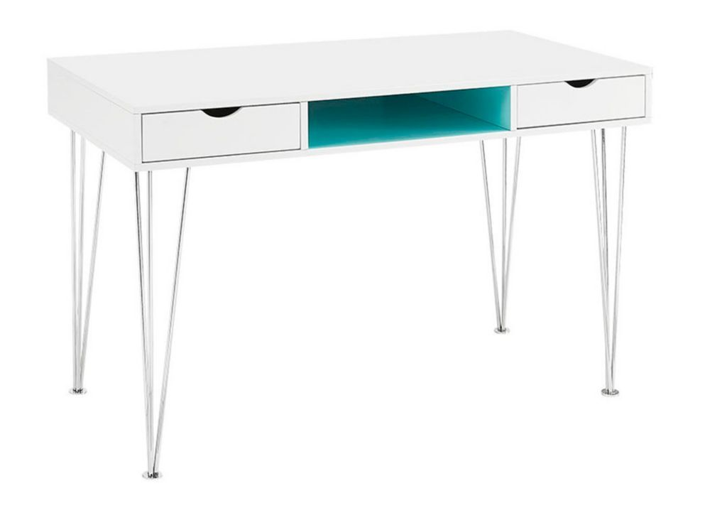 Home Office 48-inch Wood Chrome Computer Storage Desk - Blue