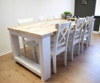 Steigerhouten tafel met witte poten wonen living for Muebles tante