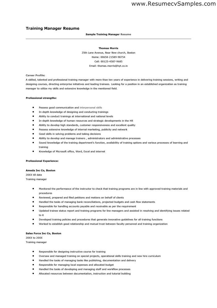 Resume For Manager Position Training Manager Resume  Httpwwwresumecareertraining