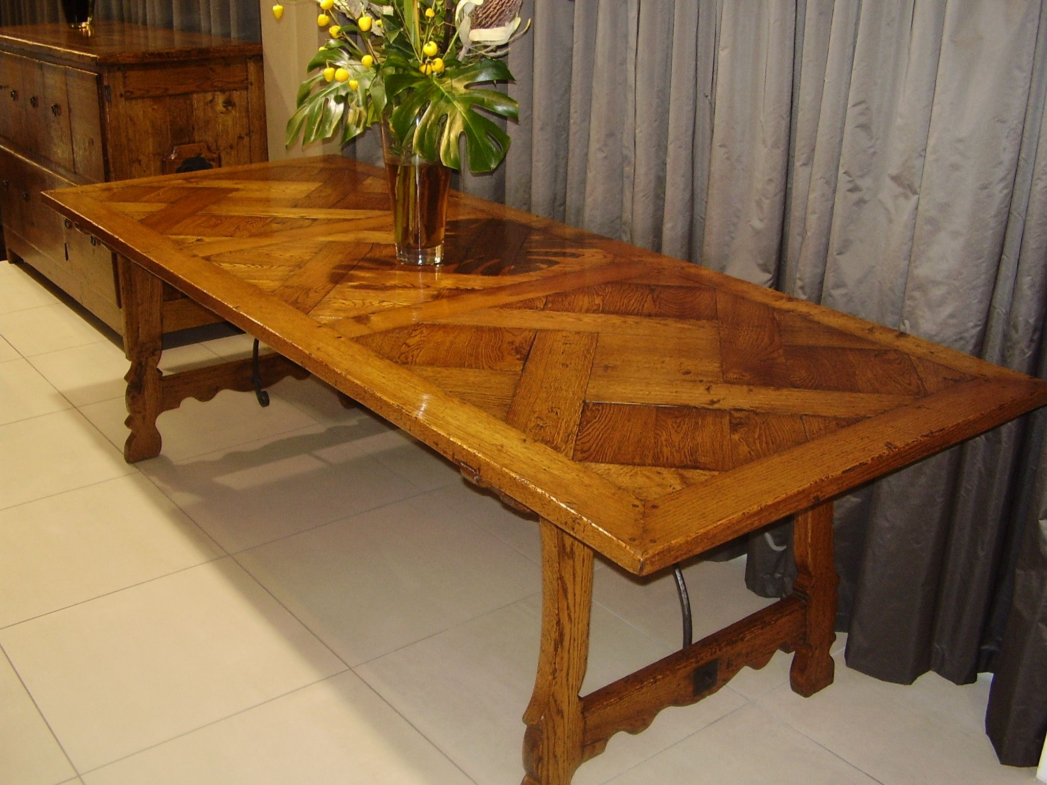 Spanish Parquetry Table With Wrought Iron Base French Oak