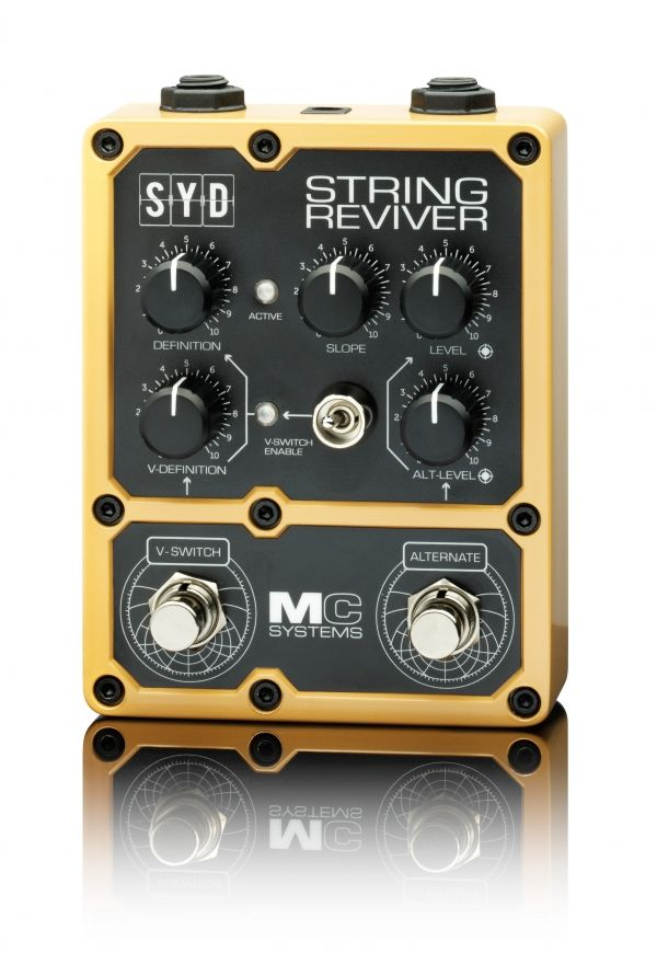 """MC Systems SYD String Reviver: """"SYD Reviver brightens up your strings to bring out the sparkle in both electric and electro acoustic instruments, giving definition in the mix, live and in the studio. V SWITCH system allows for fast access to two degrees of definition. Dual final output boost levels are available via the alternate foot switch. Slope control gives variation of eq curve for fine top end tuning."""""""