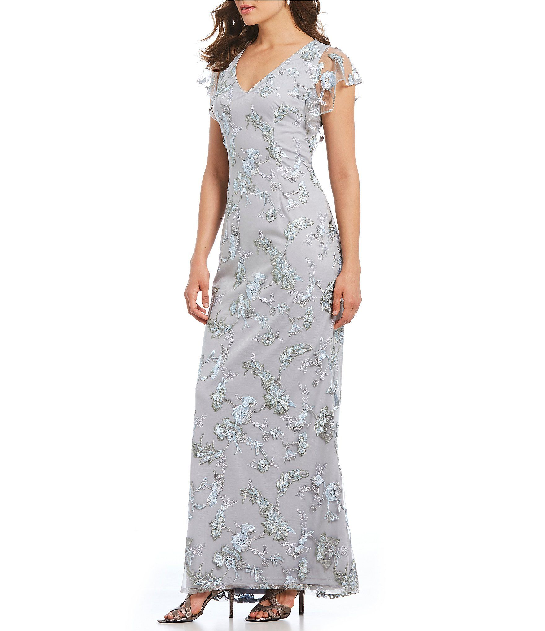 Adrianna papell metallic embroidered gown dillards wedding in