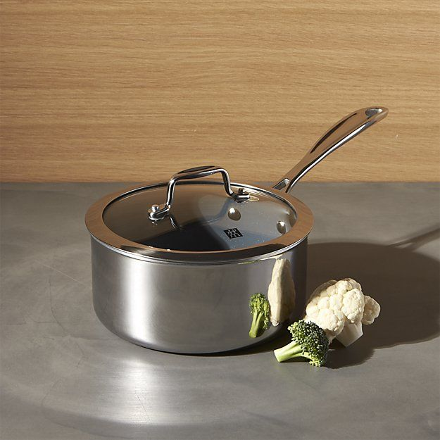 Zwilling J A Henckels Vistaclad Ceramic Non Stick 2 Qt Sauce Pan With Lid Crate And Barrel Ceramic Non Stick Cookware And Bakeware Crate And Barrel