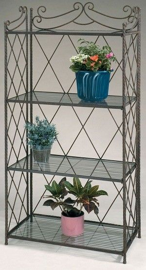 The Large Bakers Rack Plant Stand Is A Decorative Indoor Outdoor
