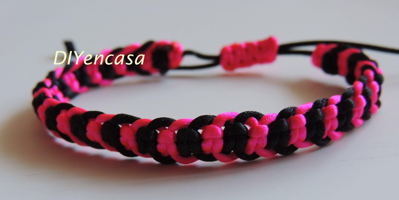 61d8320874f1 DIY Tutorial pulsera con forma de espiga en negro y rosa fluor ...
