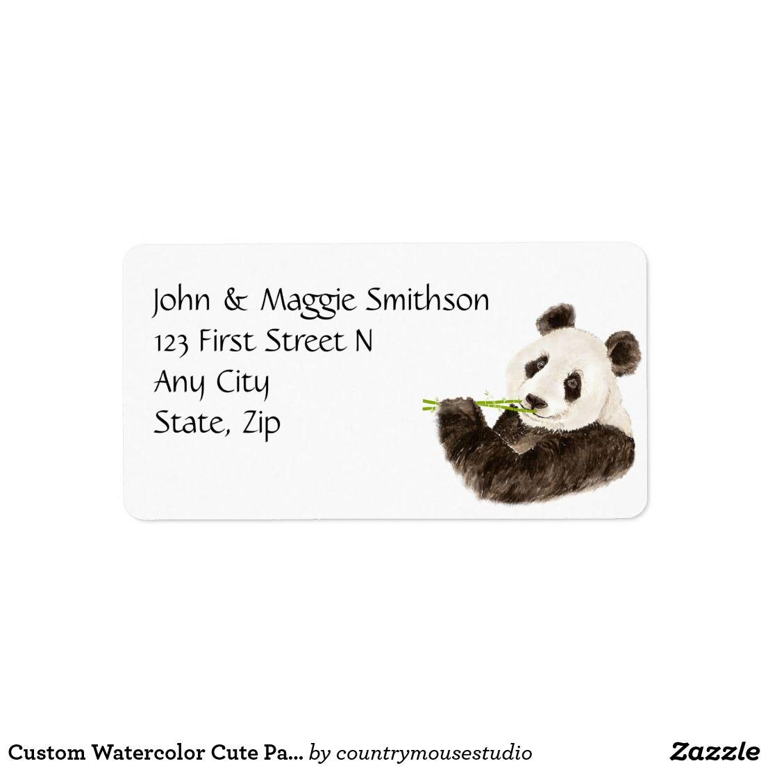 Custom Watercolor Cute Panda Asian Bear Animal Label