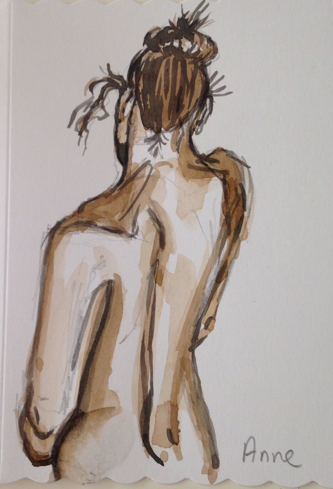 Girl backside nude aquarel