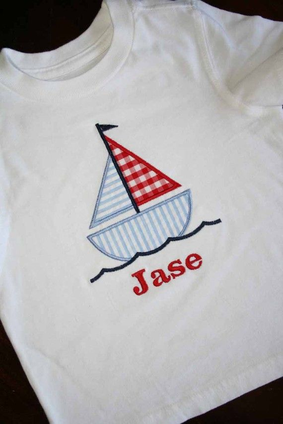 Sailboat Applique Shirt Free Personalization by bebeboutiques, $25.00