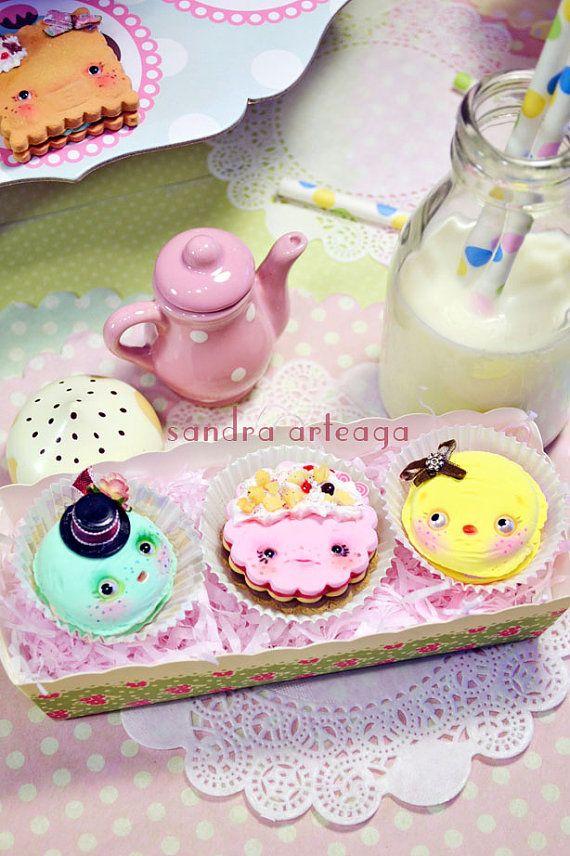 Set of 3 funny cookies in a pretty box  art doll by SandraArteagA