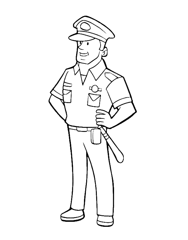 Policeman Officer Coloring Pages | Friendly Neighborhood Helpers ...
