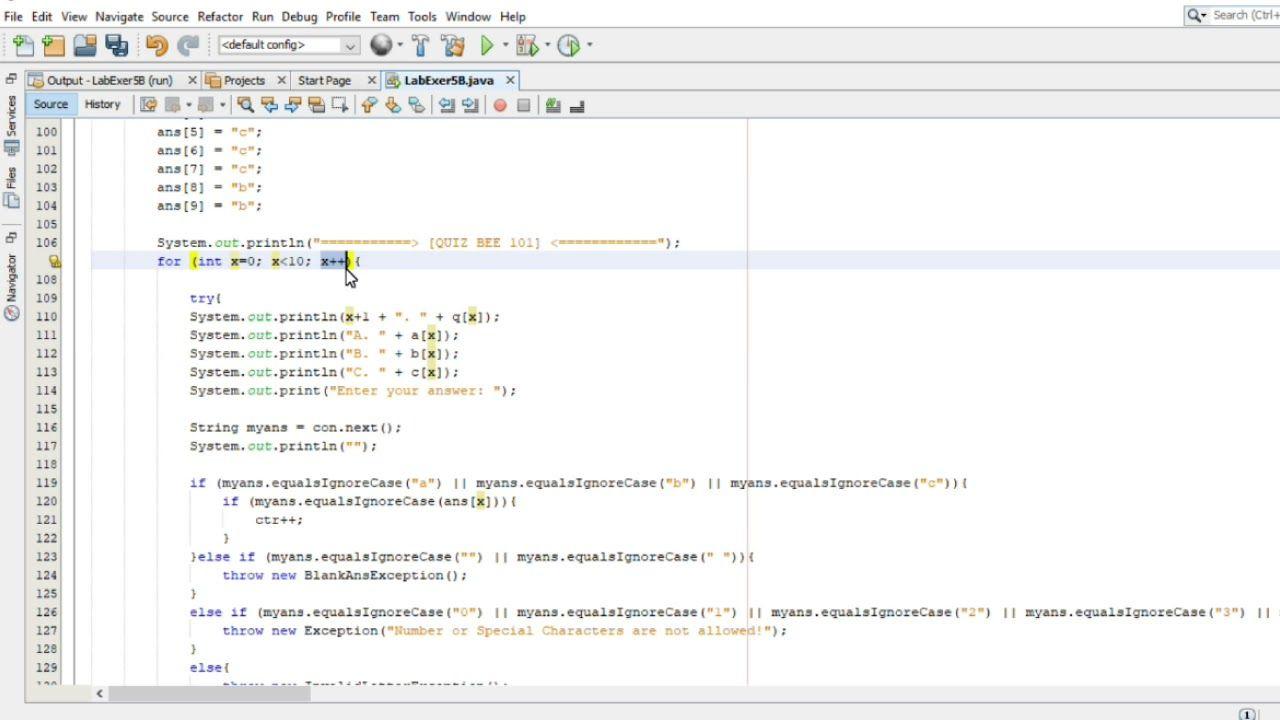 Java Basic Quiz Bee Java Tutorial Bee Games Game Programming