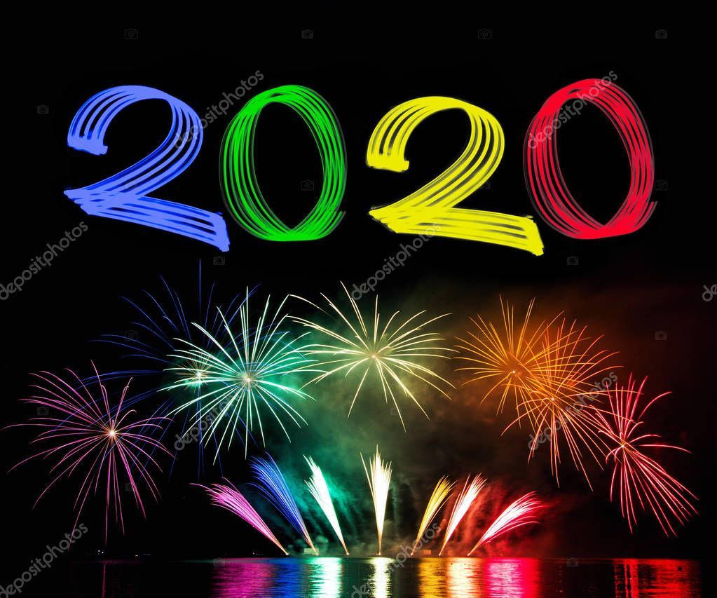 New Year's Eve 2020 with Fireworks Stock Photo ,