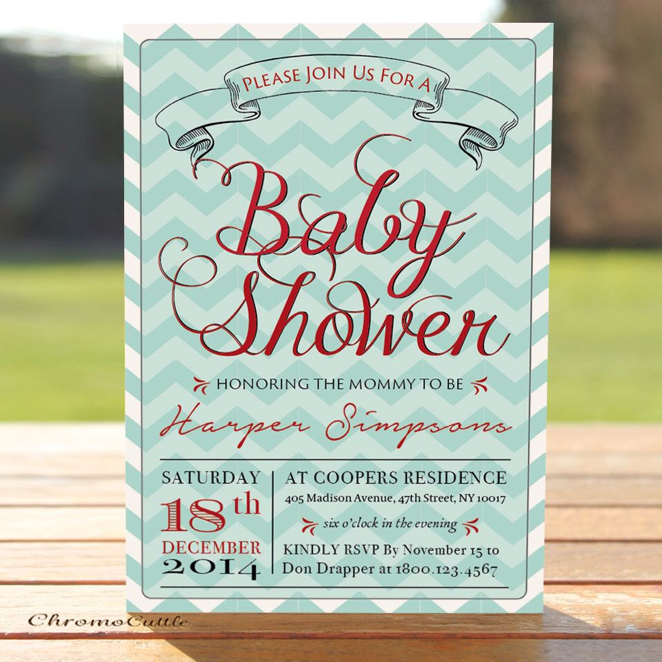 Mint Green Chevron, Red & Blue Baby Shower Invitation, Printable ...