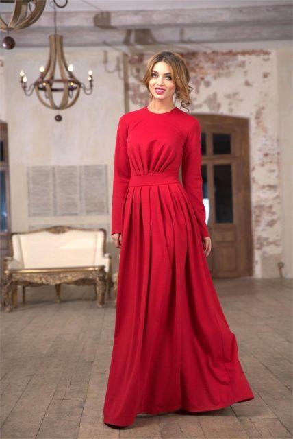 07b60ff14 vestido longo vermelho com manga longa | VESTIDOS in 2019 | Vestido ...