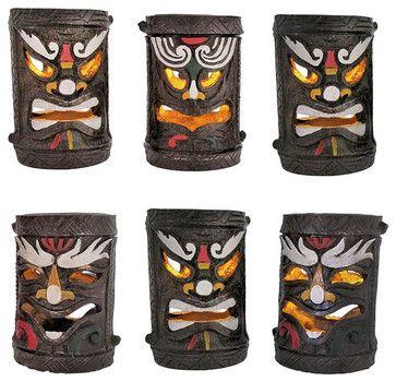 Set of 6 Colorful Friki Tiki Solar Accent Lights tropical garden sculptures
