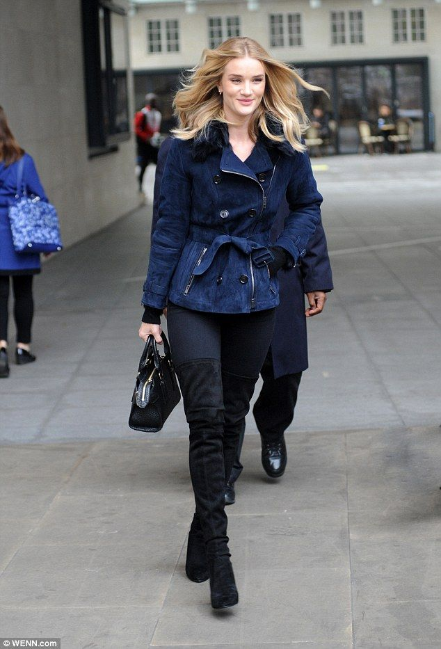 Stay warm like a supermodel in Rosie's Burberry London jacket #DailyMail
