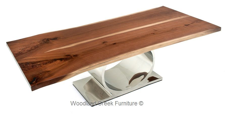Live Edge Table With Modern Stainless Base By Woodland Creek Furniture.  Custom Sizes Available.