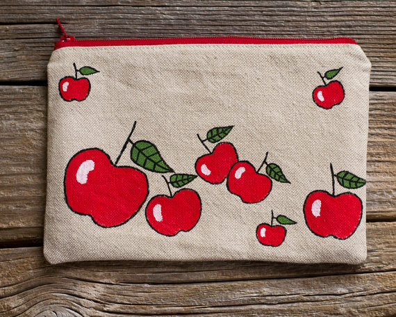 Hand Painted Red Apples Zipper Pouch Natural Linen and Cotton