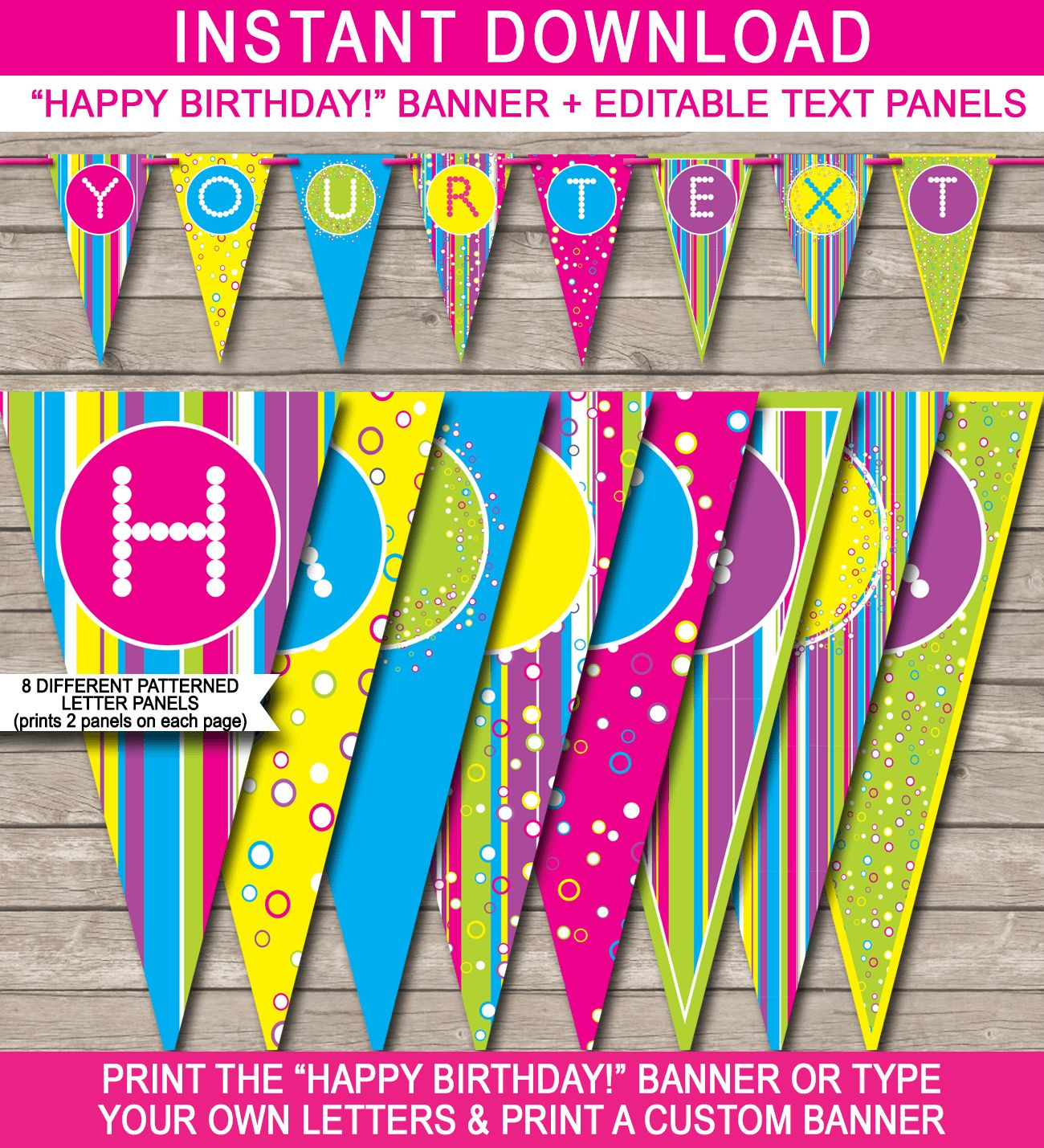 Colorful Banner Template Within Diy Birthday Banner