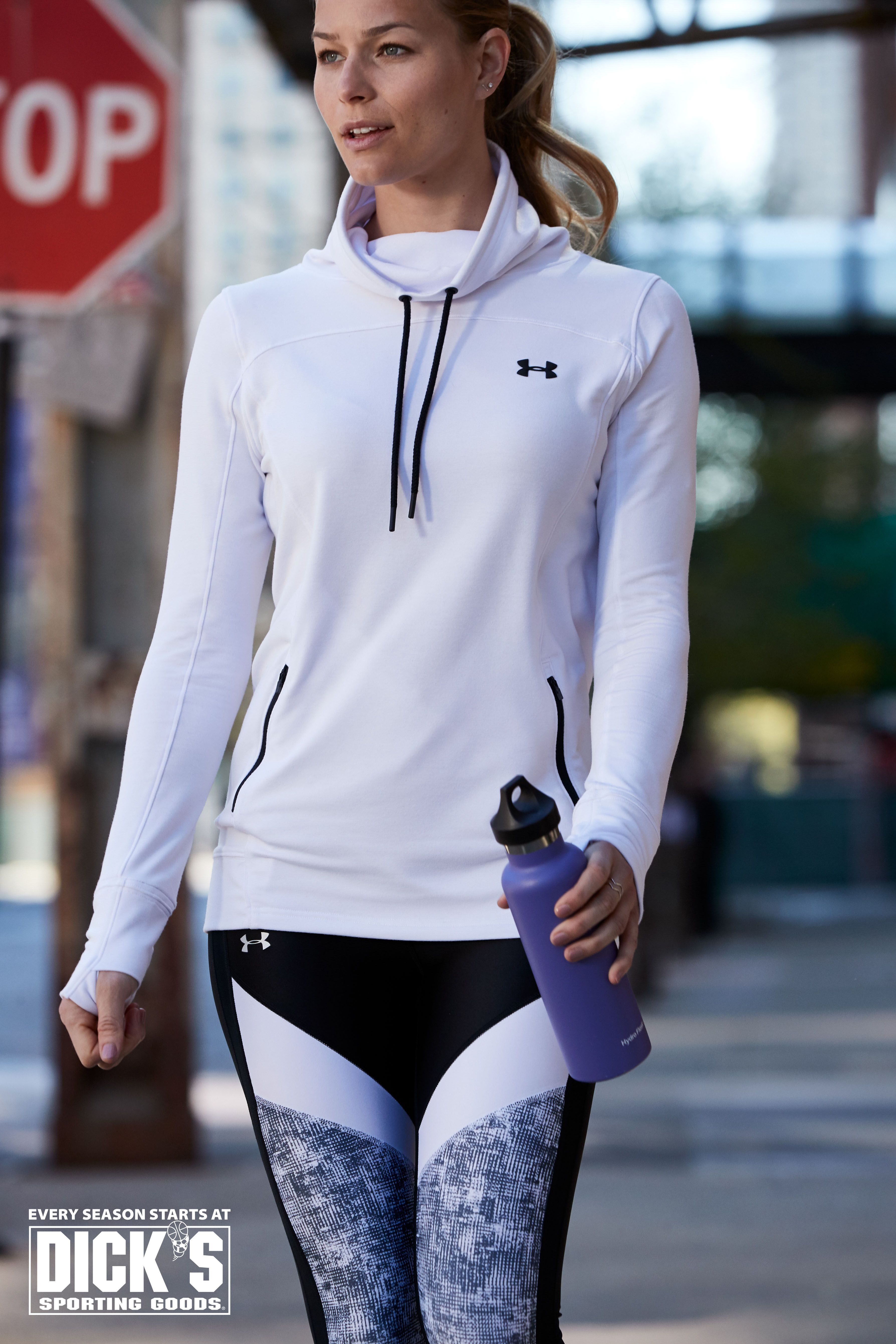 fe88bee39 Studio to street style  Under Armour Featherweight Pullover and Colorblock  Crop Leggings.