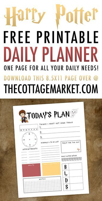 Harry Potter Free Printable Daily Planner is part of Harry potter free, Harry potter planner, Daily planner printables free, Daily planner printable, Harry potter printables free, Harry potter printables - A Harry Potter Free Printable Daily Planner is just what the Doctor Ordered! It will magically get your day organized all on one page!