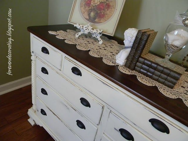 Best Love The White With Brown Top Furniture Makeover Dresser 400 x 300