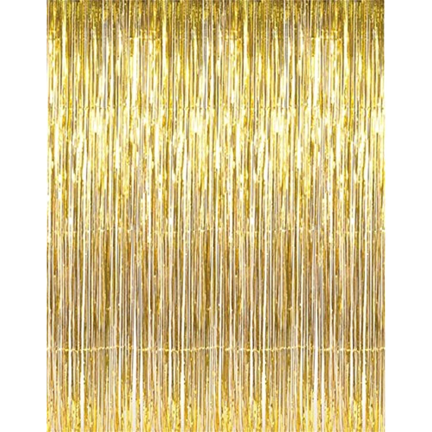 Asunflower 6 5ft Metallic Tinsel Gold Foil Fringe Curtains