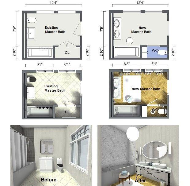 Plan Your Bathroom Design Ideas With Roomsketcher Master Bathroom Layout Bathroom Design Layout Small Bathroom Floor Plans