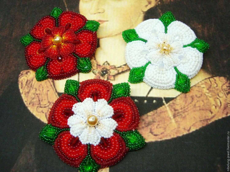 Купить Геральдические броши из бисера Розы (Йорк, Тюдор, Ланкастер) - брошь роза, роза