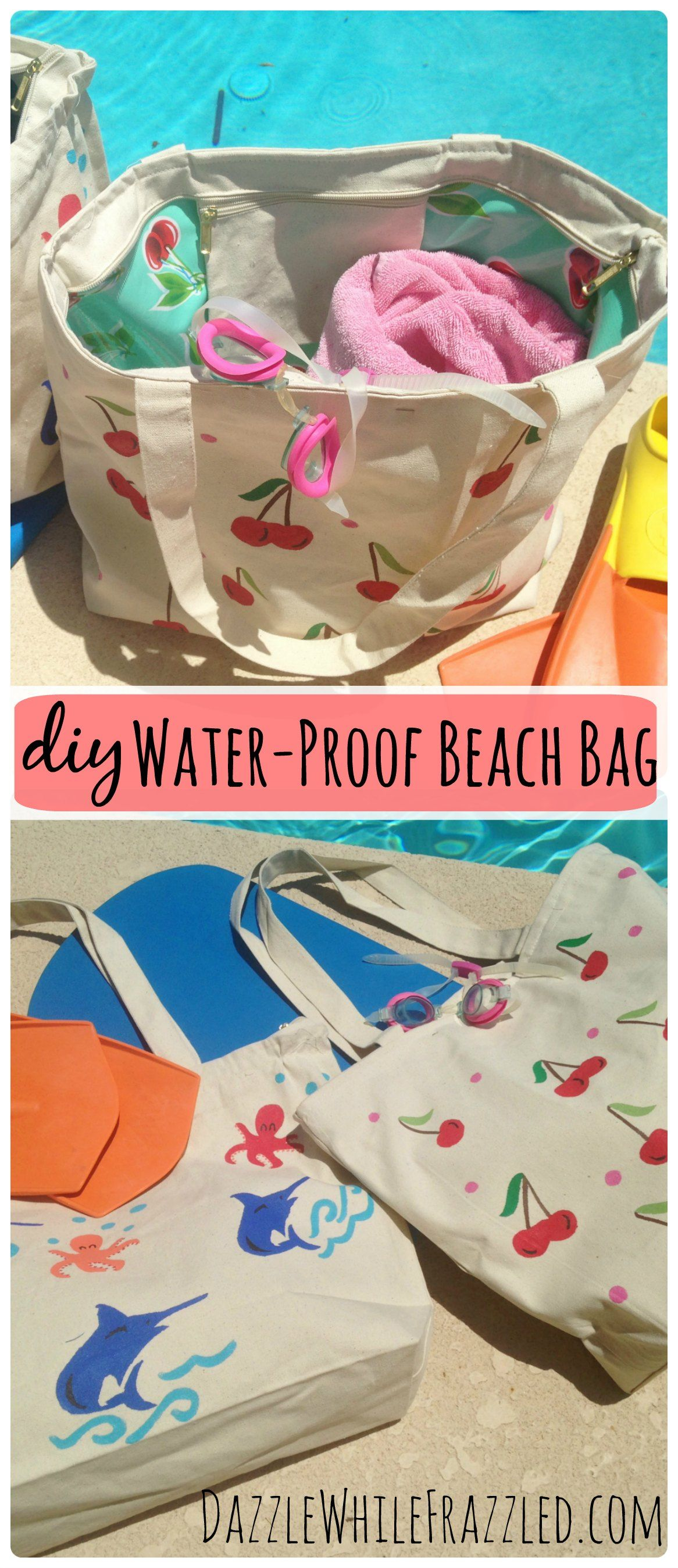 Turn any canvas tote bag into a water-proof swim or beach bag in a few simple steps. No more wet bags following a day at the pool or beach. No advanced sewing skills required!