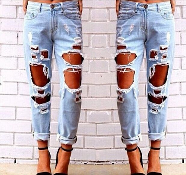 Details about Ladies Women Stretch Faded Ripped Slim Fit a lot of ...