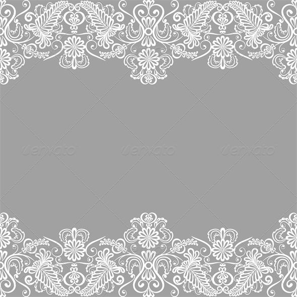 Wedding Invitation Or Greeting Card With Lace Bord GraphicRiver Border Vector Illustration Fully Editable