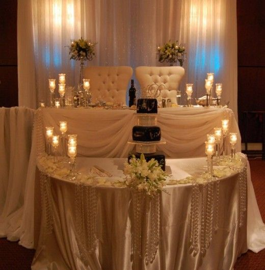 Sweetheart tables sweetheart table verse a head table for Decorating ideas for small wedding reception