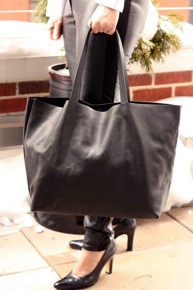 Minimalist Leather Tote Tutorials : DIY Leather Handbag