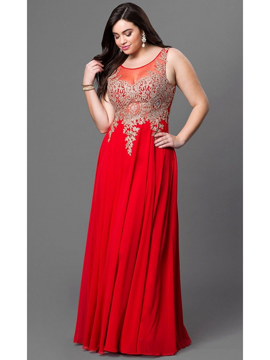 Affordable Long Red Gold Lace Illusion Neckline Plus Size ...
