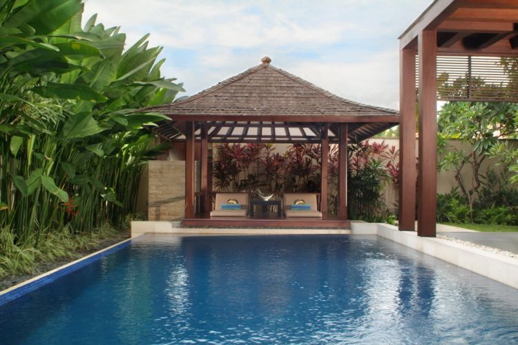 swimming pool surrounde with green plants and gazebo stunning gazebo and swimming pool design in modern