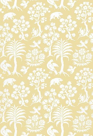 Schumacher Wallpaper 5004351 Palm Damask Sunlight (With
